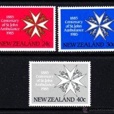 Sellos: NUEVA ZELANDA 886/88** - AÑO 1985 - MEDICINA - CENTENARIO DE LAS AMBULANCIAS DE SAINT JOHN. Lote 147659968