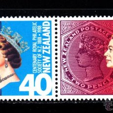 Sellos: NUEVA ZELANDA 978/79** - AÑO 1988 - CENTENARIO DE LA REAL SOCIEDAD FILATÉLICA DE NUEVA ZELANDA. Lote 147659998