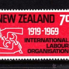 Sellos: NUEVA ZELANDA 482** - AÑO 1969 - 50º ANIVERSARIO DE LA ORGANIZACIÓN INTERNACIONAL DEL TRABAJO. Lote 48065302