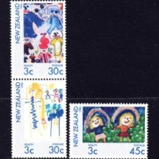 Sellos: NUEVA ZELANDA 932/34** - AÑO 1986 - PRO OBRAS PARA LA SALUD INFANTIL - DIBUJOS INFANTILES. Lote 147660050