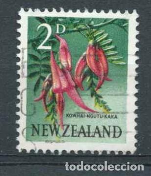 SERIE GENERAL,USADO,FLORES,ARTE Y PAISAJES,1960-1967 (Sellos - Extranjero - Oceanía - Nueva Zelanda)