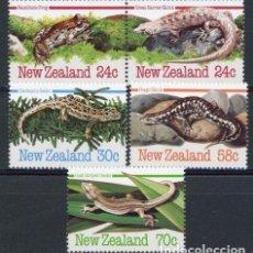 Sellos: NUEVA ZELANDA 1984 IVERT 871/5 *** FAUNA - ANIMALES EN PELIGRO DE EXTINCIÓN - REPTILES Y ANFIBIOS. Lote 87317824