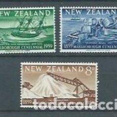 Sellos: NUEVA ZELANDA,1959,CENTENARIO DE LA PROVINCIA DE MARLBOROUG,NUEVO, MNH**,YVERT 375-377. Lote 116886956