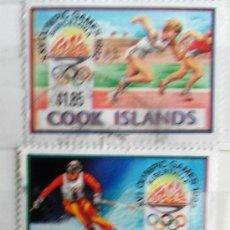 Sellos: ISLAS COOK, 3 SELLOS JUEGOS OLÍMPICOS 1992, USADOS . Lote 118966299