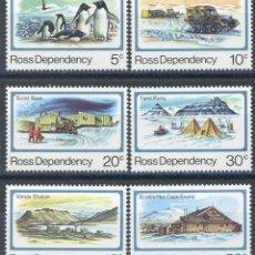 Sellos: NUEVA ZELANDA - ROSS 1982 IVERT 15/20 *** SERIE BÁSICA - 25º ANIVERSARIO APERTURA BASE SCOTT. Lote 137634470