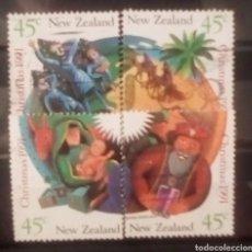 Sellos: NUEVA ZELANDA NAVIDAD MOSAICO SERIE DE SELLOS USADOS. Lote 154371033