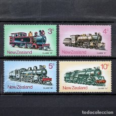 Sellos: NUEVA ZELANDA 1973 ~ TRANSPORTE: LOCOMOTORAS DE ÉPOCA ~ SERIE NUEVA MNH LUJO. Lote 182045973