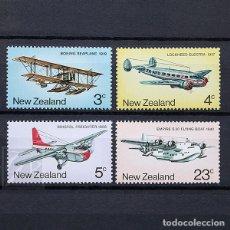 Sellos: NUEVA ZELANDA 1974 ~ TRANSPORTE: AVIONES DE ÉPOCA ~ SERIE NUEVA MNH LUJO. Lote 182046216