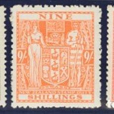 Sellos: NUEVA ZELANDA, FISCAL. MH *YV 34, 36, 40. 1931. 7/6 SH GRIS, 9 SH NARANJA Y 1 LIBRA ROSA. MAGNIFICO. Lote 183132222