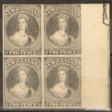 Sellos: NUEVA ZELANDA. (*)YV 9(4). 1858. 2 P NEGRO, BLOQUE DE CUATRO. ENSAYO DE PLANCHA Y SIN DENTAR, SOBRE. Lote 183149451
