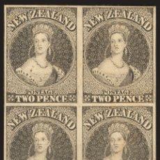 Sellos: NUEVA ZELANDA. (*)YV 9(4). 1858. 2 P NEGRO, BLOQUE DE CUATRO. ENSAYO DE PLANCHA Y SIN DENTAR, SOBRE. Lote 183149666