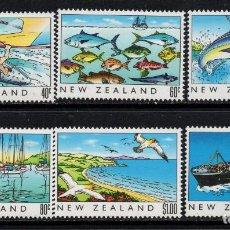 Sellos: NUEVA ZELANDA 1045/50** - AÑO 1989 - HERITAGE NEOZELANDES - EL MAR - FAUNA - PECES - BARCOS. Lote 192570080
