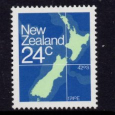 Sellos: NUEVA ZELANDA 810A** - AÑO 1982 - MAPA DE NUEVA ZELANDA. Lote 192814680