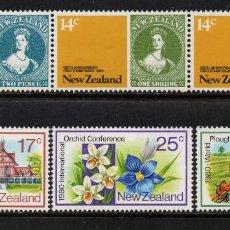 Sellos: NUEVA ZELANDA 760/65** - AÑO 1980 - FLORA - FLORES - ORQUIDEAS - ANIVERSARIOS Y ACONTECIMIENTOS. Lote 192908197