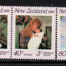 Sellos: NUEVA ZELANDA 1038/40** - AÑO 1989 - PRO SALUD INFANTIL - DUQUES DE YORK. Lote 193125907