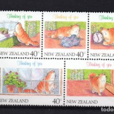 Sellos: NUEVA ZELANDA 1115/19** - AÑO 1991 - SELLOS DE MENSAJES - GATOS. Lote 193146531