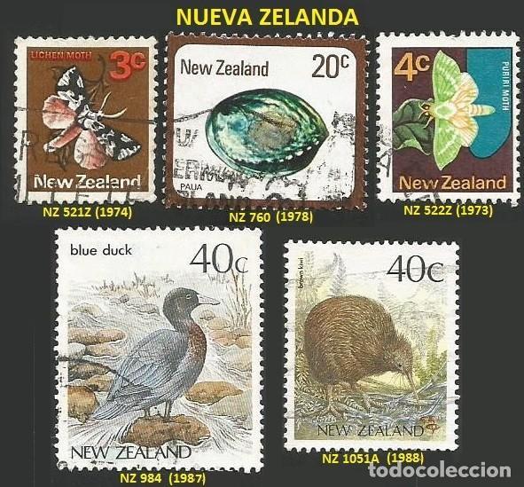 NUEVA ZELANDA VARIOS AÑOS - 5 SELLOS USADOS - TEMA FAUNA (Sellos - Extranjero - Oceanía - Nueva Zelanda)