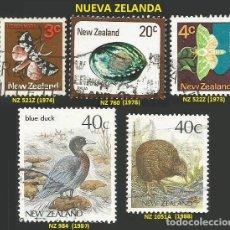 Sellos: NUEVA ZELANDA VARIOS AÑOS - 5 SELLOS USADOS - TEMA FAUNA. Lote 194089713