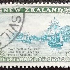 Sellos: 1947. NUEVA ZELANDA. 297. CENTENARIO DE LA FUNDACIÓN DE LA COLONIA DE OTAGO. USADO.. Lote 195216295