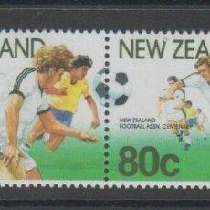 Timbres: NUEVA ZELANDA 1991 IVERT 1102/3 *** CENTENARIO DE LA ASOCIACIÓN NEOZELANDESA DE FUTBOL - DEPORTES. Lote 206253485