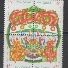 Sellos: NUEVA ZELANDA 1993 IVERT 1241/4 *** NAVIDAD - DECORADO CON GUIRNALDAS. Lote 206254006