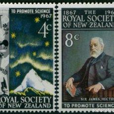 Sellos: NUEVA ZELANDA 1967 - ROYAL SOCIETY - YVERT Nº 465/466**. Lote 208877923