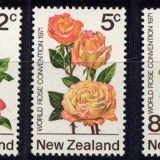 Sellos: NUEVA ZELANDA 1970 - FLORES - ROSAS - YVERT Nº 551/553**. Lote 208880116
