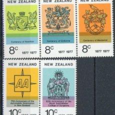 Sellos: NUEVA ZELANDA 1977 IVERT 679/83 *** ANIVERSARIOS - ESCUDOS DE CIUDADES. Lote 210753662