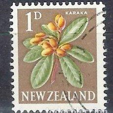 Timbres: NUEVA ZELANDA 1960-63 - FLORES, CORYNOCARPUS LAEVIGATUS - SELLO USADO. Lote 210987589