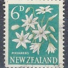 Timbres: NUEVA ZELANDA 1960-63 - FLORES, CLEMATIS PANICULATA - SELLO USADO. Lote 210987759