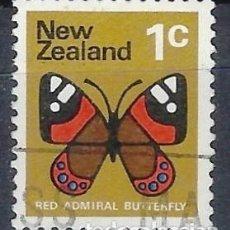Timbres: NUEVA ZELANDA 1970-76 - FAUNA, MARIPOSA, VANESSA GONERILLA - SELLO USADO. Lote 211058614