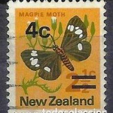 Sellos: NUEVA ZELANDA 1971-74 - FAUNA, MARIPOSAS, SOBRECARGADO - SELLO USADO. Lote 211210091