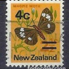 Sellos: NUEVA ZELANDA 1971-74 - FAUNA, MARIPOSAS, SOBRECARGADO - SELLO USADO. Lote 211213251