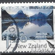Sellos: NUEVA ZELANDA 2010 - PAISAJES, MITRE PEAK, MILFORD SOUND - SELLO USADO. Lote 211260729