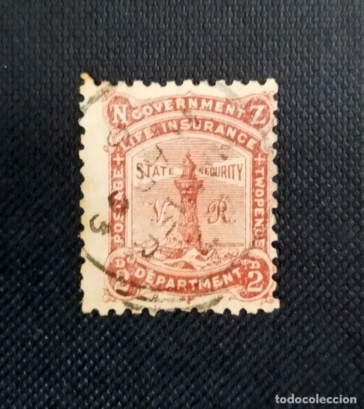 ANTIGUOS SELLOS DE NUEVA ZELANDA 1891, FAROS, INSCRIPCIÓN LIFE INSURANCE, (Sellos - Extranjero - Oceanía - Nueva Zelanda)