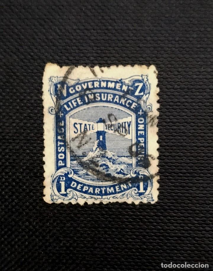 ANTIGUOS SELLOS DENUEVA ZELANDA 1905, FAROS, INSCRIPCION LIFE INSURANCE, (Sellos - Extranjero - Oceanía - Nueva Zelanda)