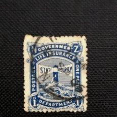 Sellos: ANTIGUOS SELLOS DENUEVA ZELANDA 1905, FAROS, INSCRIPCION LIFE INSURANCE,. Lote 212484483