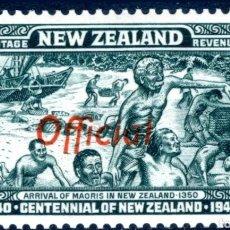"""Sellos: NUEVA ZELANDA - 1940 CENTENARIO D 1/2 AZUL-VERDE OFICIAL CON """"FF"""" SE UNIÓ A SG 0141A. Lote 213919927"""