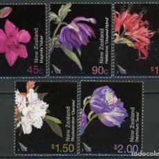 Sellos: NUEVA ZELANDA 2004 IVERT 2087/91 *** FLORA - FLORES DE JARDÍN (II). Lote 219300580