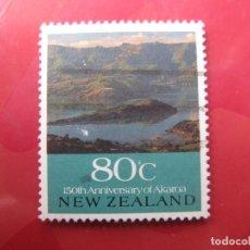 Sellos: +NUEVA ZELANDA, 1990, VISTA PANORAMICA DE AKAROA, YVERT 1072. Lote 222741641