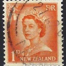 Francobolli: NUEVA ZELANDA 1955 - ISABEL II, NÚMEROS AGRANDADOS - USADO. Lote 224455880