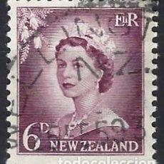 Francobolli: NUEVA ZELANDA 1955 - ISABEL II, NÚMEROS AGRANDADOS - USADO. Lote 224456730