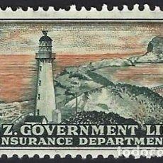 Francobolli: NUEVA ZELANDA 1891-97 - SELLO DE SEGURO DE VIDA, FARO DE CASTLEPOINT - MNH**. Lote 224472842
