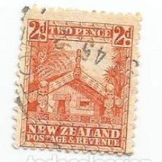 Sellos: SELLO USADO DE NUEVA ZELANDA DE 1935- CASA DEL CONSEJO MAHORI- YVERT 196- VALOR 2 PENIQUES-VARIANTE. Lote 235789840
