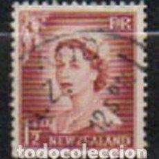 Sellos: NUEVA ZELANDA IVERT Nº 353 (AÑO 1954), LA REINA ISABEL II, USADO. Lote 296708218