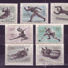 Timbres: AUSTRIA 974/80** - AÑO 1963 - JUEGOS OLÍMPICOS DE INVIERNO DE INNSBRUCK. Lote 201560880