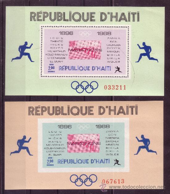 Sellos: HAITI HB 26/27A*** - AÑO 1968 - CAMPEONES OLIMPICOS DE MARATON - Foto 2 - 27321992