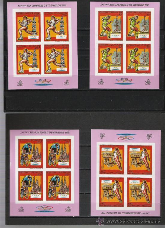 TEMA OLIMPIADAS GRAN SERIE DE HOJITAS BLOQUE SIN DENTAR NUEVA BARCELONA 92 (Sellos - Temáticas - Olimpiadas)