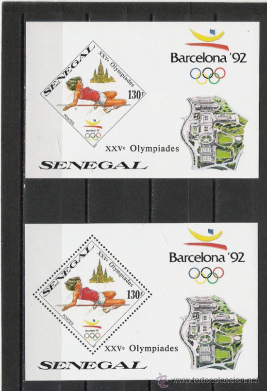 TEMA OLIMPIADAS HOJITA BLOQUE DENTADA Y SIN DENTAR NUEVA BARCELONA 92 (Sellos - Temáticas - Olimpiadas)