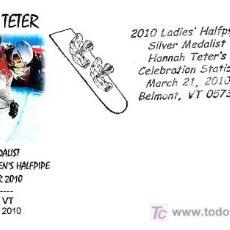 Sellos: OLIMPIADAS VANCOUVER 2010. HANNAH TETER MEDALLA DE PLATA SNOWBOARD FEMENINO. Lote 18899649